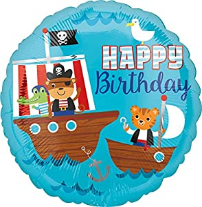 Amscan International 3561101 Happy Birthday - Globos de Papel de Aluminio con diseño de Barco Pirata