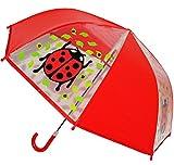 alles-meine.de GmbH Regenschirm - transparent -  Marienkäfer  - Kinderschirm Ø 76 cm - Kinder Stockschirm - für Mädchen Jungen - durchsichtig - Schirm Kinderregenschirm / Glock..