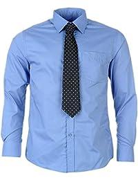 Chemise avec Cravate PIERRE CARDIN pour Homme Neuve Blanche ou Bleue Unie