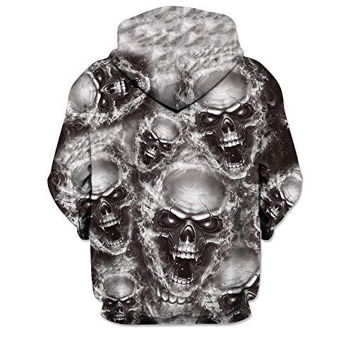 Kinlene 3D Printed Skull Pullover Langarm-Kapuzen-Sweatshirt Tops Bluse Herren