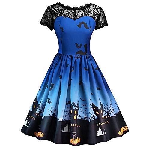 RYTEJFES Damen Halloween Retro Lace Vintage Kleid Eine Linie Kürbis Schaukel Kleid A-line Elegant Abendkleid Cosplay Kostüm Faschingskostüme (Schwangerschaft Pad Kostüm)