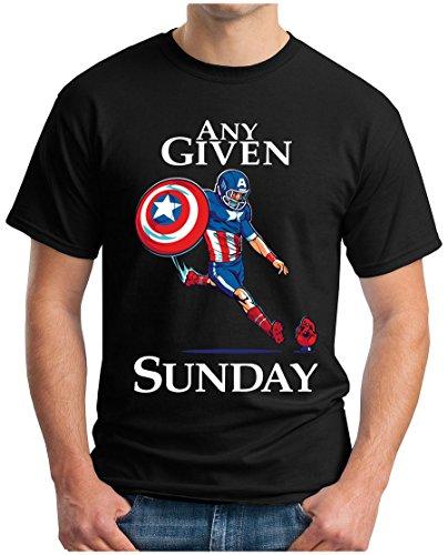 OM3 - ANY-GIVEN-SUNDAY - T-Shirt | Herren | American Football | An jedem verdammten Sonntag | Super Bowl 52 LII | XXL, Schwarz (Patriot-eagle-t-shirt)