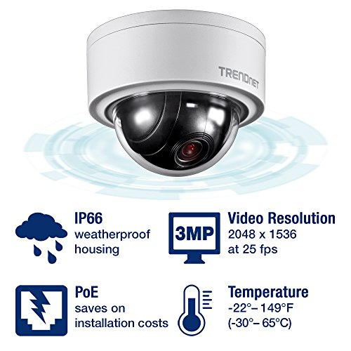 TRENDnet Innen/Außen 3MP Motorisiert PTZ Kuppel Netzwerk Kamera, 4x Optischer Zoom, 16x Digitaler Zoom, Autofokus, IP66 Gehäuse, Kostenloses iOS und Android mobile Apps, ONVIF Profil S, TV-IP420P