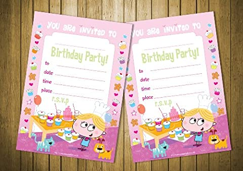20 Children's Birthday Party Invitations Girls Cupcake Baking Party