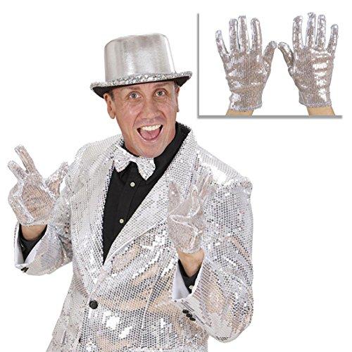 (Pailletten Handschuhe silber Popstar Glitzerhandschuhe Michael Jackson Paillettenhandschuhe Glitzer Party Damenhandschuhe und Herrenhandschuhe Silvester Schlager Schlagerparty King of Pop Silberhandschuhe Armschmuck Celebrity Star Mottoparty Accessoires Karneval Kostüm Zubehör)