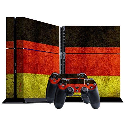 Stillshine PS4 Skin Aufkleber Sticker Folie schützende Haut Schale für Sony Playstation 4 Konsole und 2 Controller (Flags Germany) -