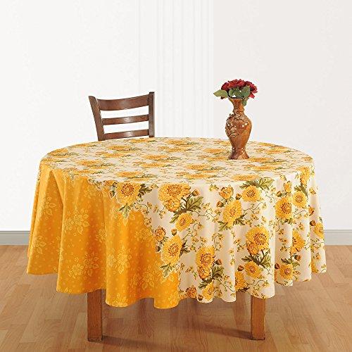 La maison indienne Décor tissu de coton imprimé floral 86 Pouces Nappe Ronde 6 places