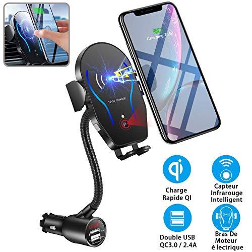 2 in 1 Qi Handyhalterung Auto,Handyhalterung KFZ Universelle Kfz Handy Halterung mit Dual USB Zigarettenanzünder Infrarot Sensor Magnetischer Telefonhalter 10W MAX für Samsung iPhone Huawei Xiaomi