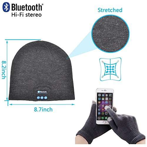 Fone-Case Microsoft Surface 2 10.6' (Dark Grey) Wireless Bluetooth Beanie-Hut mit Stereo-Kopfhörer-Headset-Lautsprecher Hands-Free...