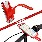 Bike Silicone Phone Mount Holder Universal Waterproof,bicycle handlebar cradle,Adjustable 4-6 Inch Screens,WZMIRAI Outdoor and Cycling Navigation(red)