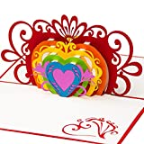 3D Hochzeitskarte Bunte Herzen 3D Pop up, handgefertigt, Karte Hochzeitstag, Liebe, Herz, Ehe für alle, Regenbogen, Hochzeitseinladung
