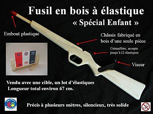 Kit loisir complet : Fusil en bois lance élastiques à répétition avec cible tournante - 12 coups
