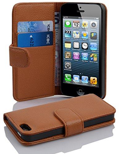 Cadorabo Hülle für Apple iPhone 5 / iPhone 5S / iPhone SE - Hülle in COGNAC BRAUN – Handyhülle mit Kartenfach aus struktriertem Kunstleder - Case Cover Schutzhülle Etui Tasche Book Klapp Style