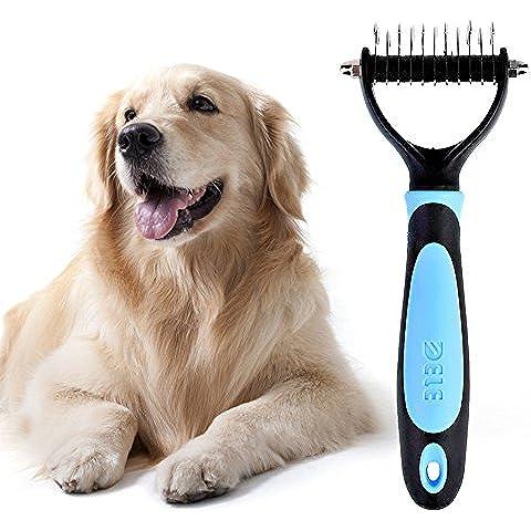 LIVEHITOP La capa interna de mascotas rastrillo con doble cara, flexible herramienta profesional para mascotas Dematting peine y estética de desmontaje para perros y gatos (azul)