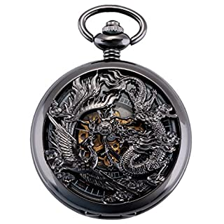 ManChDa Vintage Mechanical Pocket Watch Lucky Dragon & Phoenix Skeleton Roman Numerals Black Fob Watch with Chain for Men Women + Gift Box