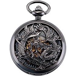 ManChDa Antique Mécanique Montre de poche Chanceux Dragon & Phoenix (meilleurs voeux) Cadran squelette avec chaîne pour les Hommes Femmes + Coffret