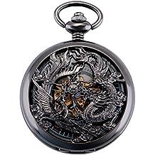 ManChDa Reloj de bolsillo de movimiento automático Punk de vapor para hombre + Caja regalo