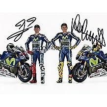 Edición limitada VALENTINO ROSSI Jorge Lorenzo Moto Gp firmada fotografía + Cert impreso