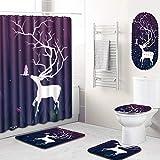 GLONG 5 Stücke Duschvorhang Toilettendeckel Tankabdeckungen Bad Toilettendeckel Sets,A,L