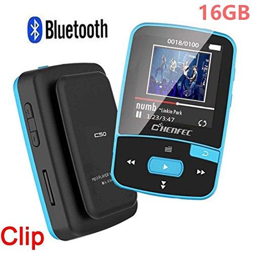 CCHKFEI Mini Clip 16GB MP3-Player mit Bluetooth 1.5 Zoll Display, tragbarer Sport verlustfreier Musik-Player mit FM-Radio, Sprachaufnahme zum Laufen (unterstützt bis zu 128 GB, blau) - Taste Back Rock
