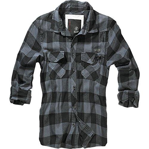 Brandit Check Shirt Herren Flanell Hemd B-4002 Black-Grey