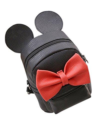 Mickey-mouse-taschen (Zantec Rucksack fuer Frauen, PU Leder Nette Bowknot Mickey Mouse Ohren Schulter Multifunktions Span Bag)