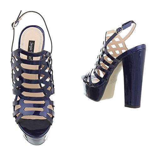 Ital-Design High Heel Sandaletten Damenschuhe High Heel Sandaletten Pump High Heels Schnalle Sandalen & Sandaletten Blau