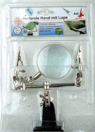 Preisvergleich Produktbild Profistar Helfende Hand mit Lupe, stabiler Standfuß, Glas-Lupe 65 mm zumbeispiel für Modellbau, A5600009SB