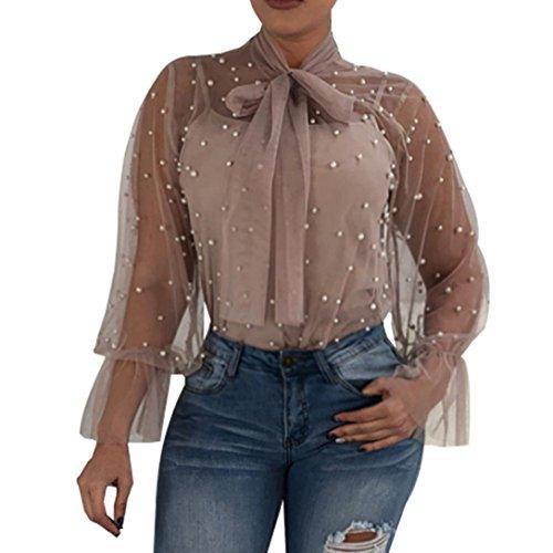 T-Shirt,Honestyi 2018 Neueste Modell Damen Perspective Net Garn Nagel Perlen Bluse Spitze Spleißen Mode V-Ausschnitt Oberteile Lange Ärmel Hemd Pullover Streetwear T-Shirt Tops (S, Khaki)