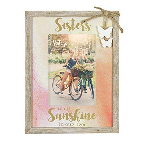 Vintage Stil Schwestern Bilderrahmen 10,2x 15,2cm in Geschenkbox mit Schmetterlinge (Schwestern Bilderrahmen)