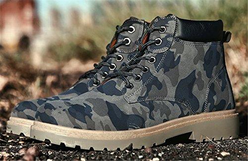 AgeeMi Shoes Herren Rund Zehe Kurzschaft Stiefel Erwachsene Hohe Sneakers Blau