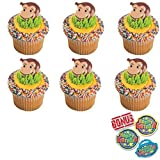 Curious George Cutest Monkey Cupcake Toppers and Bonus Birthday Ring - 25 Piece
