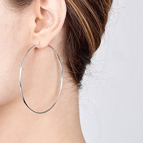 Kiss Me 925 Sterling Silver Fine Circle Endless Hoops - Polished Round Sleeper Earrings Diameter Size: 40 50 60mm EEfXDDwi