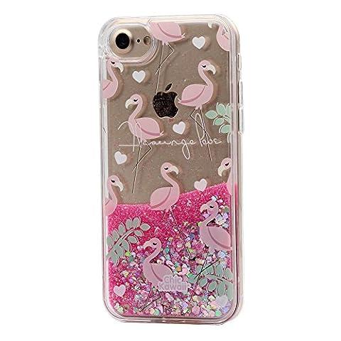 iPhone 6 / 6S Liquide Coque pour Filles, Keyihan Mignonne Style Rose Conception Sables Mouvants Paillettes Plastique dur Housse Étui Avec bord de TPU doux pour Apple iPhone 6 et iPhone 6S (Flamant 2#)