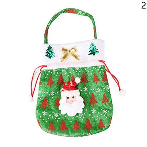 happyquda Weihnachten Santa Claus Schneemann Candy Santa Sack Strumpffüller Geschenktüten für kleine Geschenke, Vliesstoff, Green Santa, (Halloween Hexe Kostüme Schlechte)