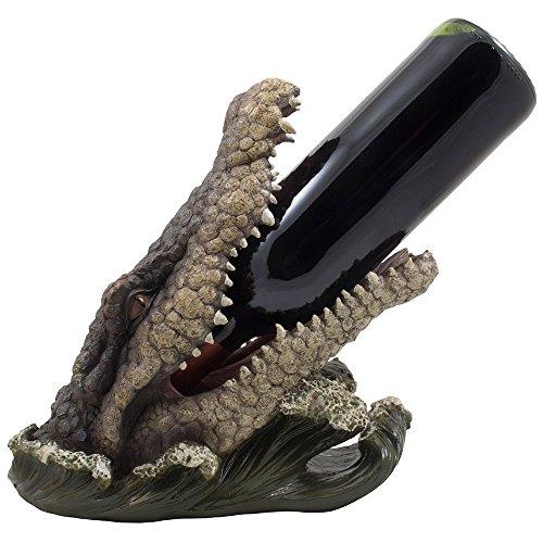 Foto de Potable Alligator para botella de vino soporte Estatua de la cocina o Bar en la playa Tropical Decor esculturas y decorativo de mesa vino estante y regalos