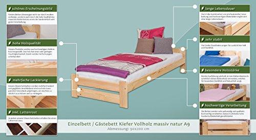 Futonbett / Massivholzbett Kiefer Vollholz massiv natur A9, inkl. Lattenrost – Abmessung 90 x 200 cm