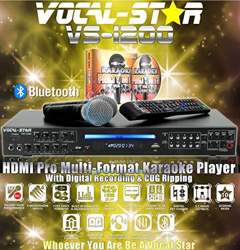 Vocal-Star VS-1200 CDG DVD HD Karaoke-Maschine mit 2 Mikrofonen und Top Party Lieder