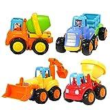 4pcs plástico Presione y Go coches vehículos de construcción de juguetes educativos para niños de 1a 3años