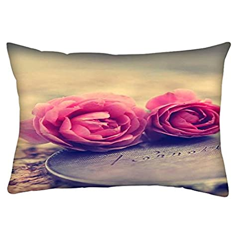 Snoogg Miniature Roses Rectangle Toss Throw Pillow Cushion Cover Decoarative