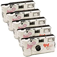 5 x Photo porst boda Cámara desechable con mariposa/cámara/Party Cámara (por 27 fotos,con flash,5 unidades)