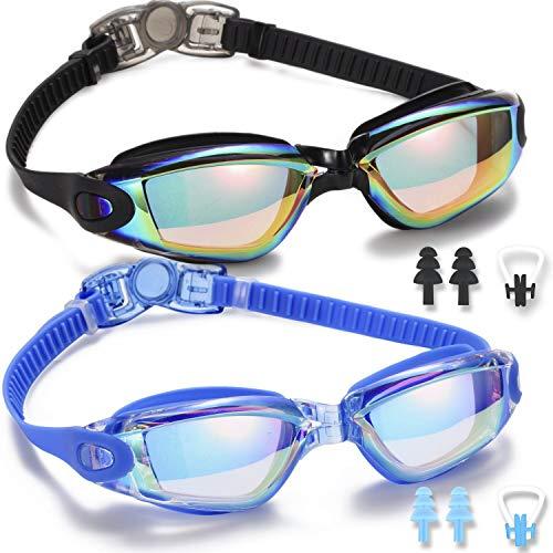 Noorlee Lot de 2lunettes de natation homme/femme pour adultes et enfants - anti-fuite, anti-buée, protection UV 400,étanche à 180°, vision claire - idéales pour le triathlon , Black/Blue(Mirr