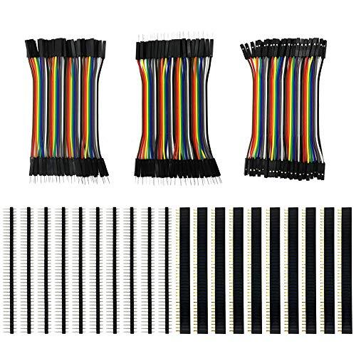 Preisvergleich Produktbild KeeYees 120pcs 3x10 cm Jumper Wire Drahtbrücken Set 40pin Male zu Female,  Male zu Male,  Female zu Female mit 20pcs Kopfleisten Single Reihe 40pin PCB Stiftleiste 2, 54mm für Arduino Raspberry Pi