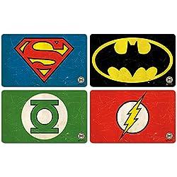 Logoshirt Juego de Tablas de Desayuno DC Comics - Juego de 4 Tablas de Picar Super Heroes - Diseño Original con Licencia