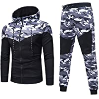 LANSKIRT Herren Herbst Winter Camouflage Sweatshirt Top + Hosen Sets Sportkleidung Trainingsanzug