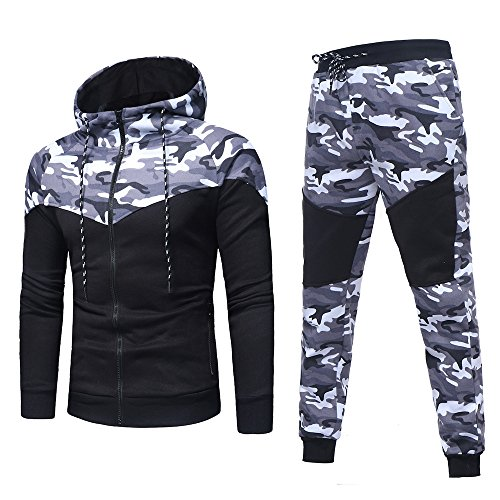 ESAILQ Herren Herbst Winter Camouflage Sweatshirt Top Hose Sets Sportanzug Trainingsanzug(Medium,Schwarz)