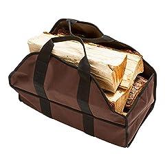 Idea Regalo - Aolvo Firewood Carrier Holder, grande resistente tessuto Oxford tela Firewood Log Tote Carrier bag Holder antipolvere Campwood bag pieghevole, per outdoor campeggio Camfire camino legno vettore, Coffee 24.4 x 12 x 10 ''