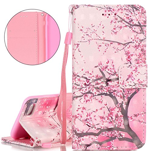 Hülle für iPhone 7, Tasche für iPhone 7, Case Cover für iPhone 7, ISAKEN Malerei Muster Folio PU Leder Flip Cover Brieftasche Geldbörse Wallet Case Ledertasche Handyhülle Tasche Case Schutzhülle Hülle Kirschblüte Pink