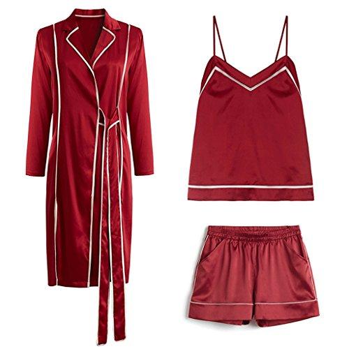 ZLR Autumn Winter Sexy Pajamas Silk Meterial Sleep Robe Nine-point Sleeves Lady Home Cthree-piece Set