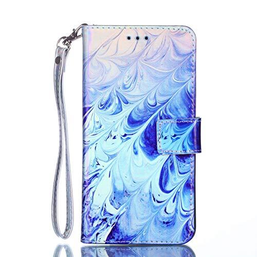 Chreey Hülle für iPod Touch 5 / Touch 6, Kreative Design PU Leder Handyhülle Brieftasche Schutzhülle Flip Case mit Muster, Blaue Welle